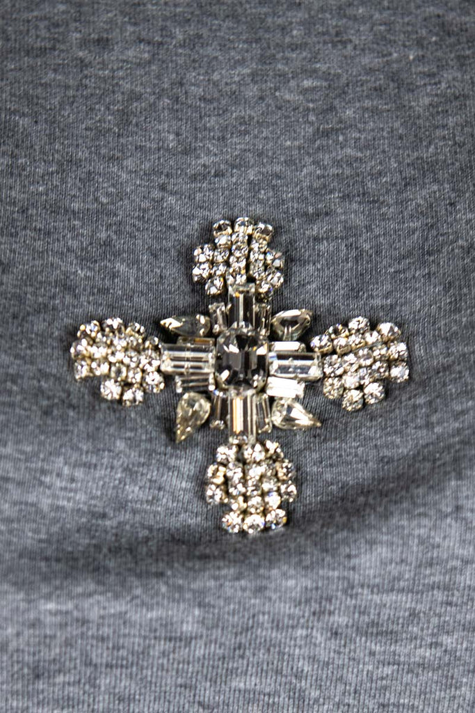 Dolce & Gabbana Grey Crystal Embellished Cross T-Shirt Size L | IT 46 [20% OFF] - OWN THE COUTURE