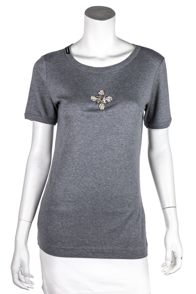 Dolce & Gabbana Grey Crystal Embellished Cross T-Shirt Size L | IT 46 - OWN THE COUTURE