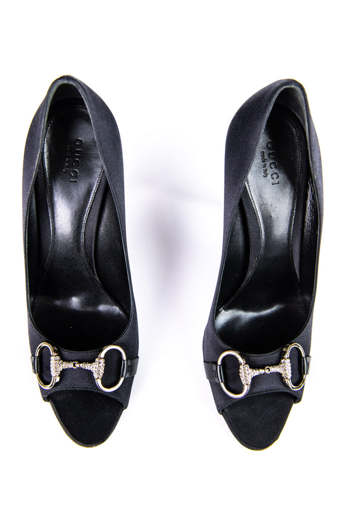 Gucci Black Satin Embellished Horsebit Peep Toe Pumps Size 9 | EU 39 - OWN THE COUTURE
