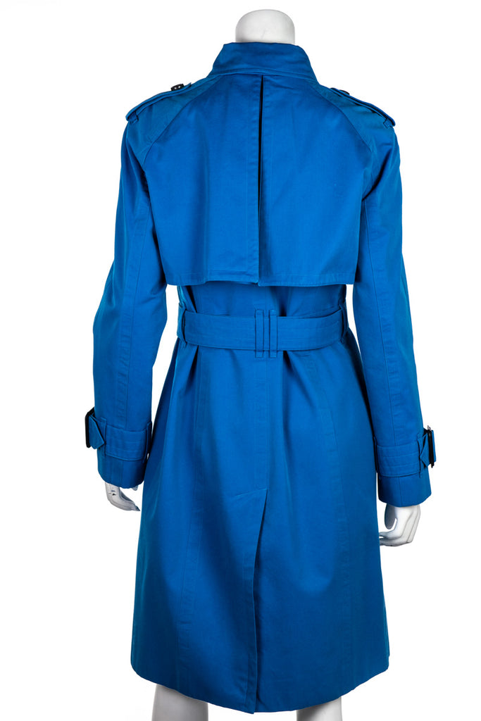 Burberry London Turquoise Cotton Trench Coat Size M | UK 12 - OWN THE COUTURE
