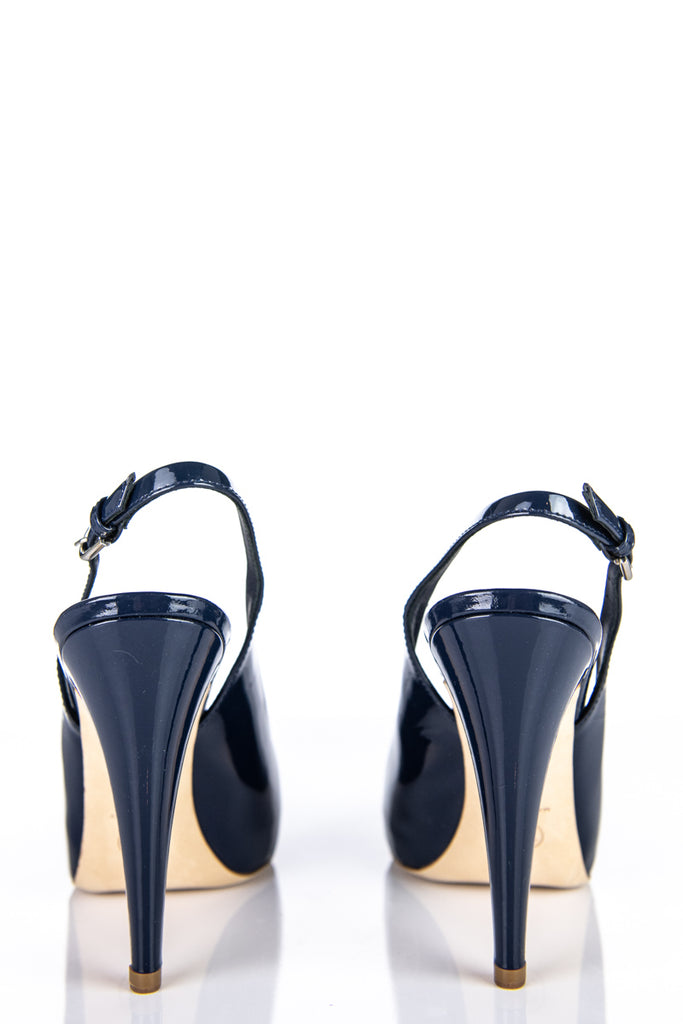 Chanel Blue Patent Peep Toe Sling Back Pumps Size 10 | IT 40 [10% OFF] - OWN THE COUTURE