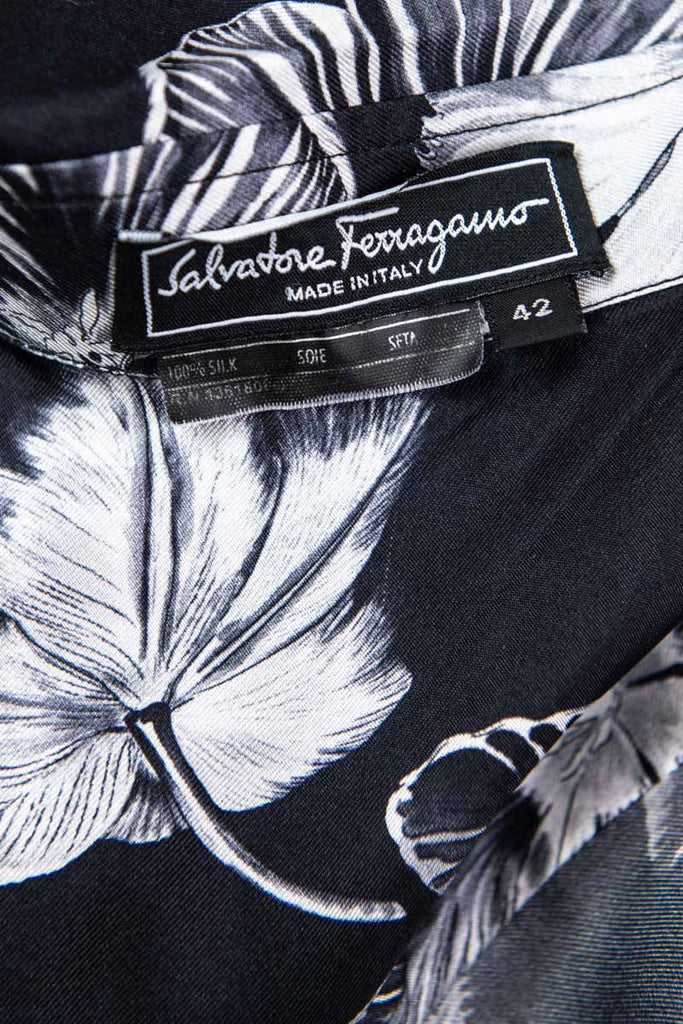 Salvatore Ferragamo Black Silk Floral Print Blouse Size S | IT 42 [20% OFF] - OWN THE COUTURE