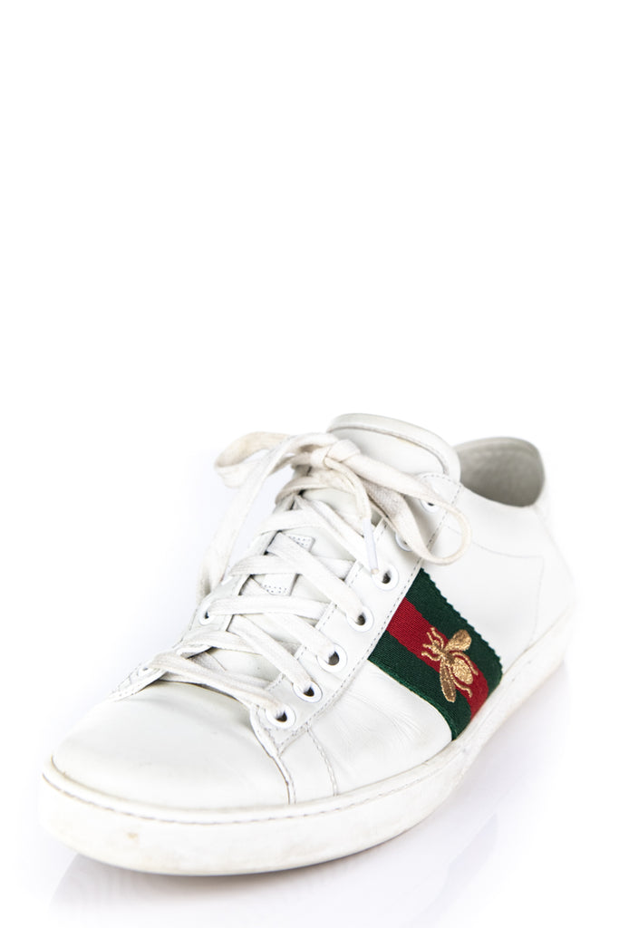bcbabe6a23c Gucci White Leather Ace Low Top Embroidered Bee Web Sneakers