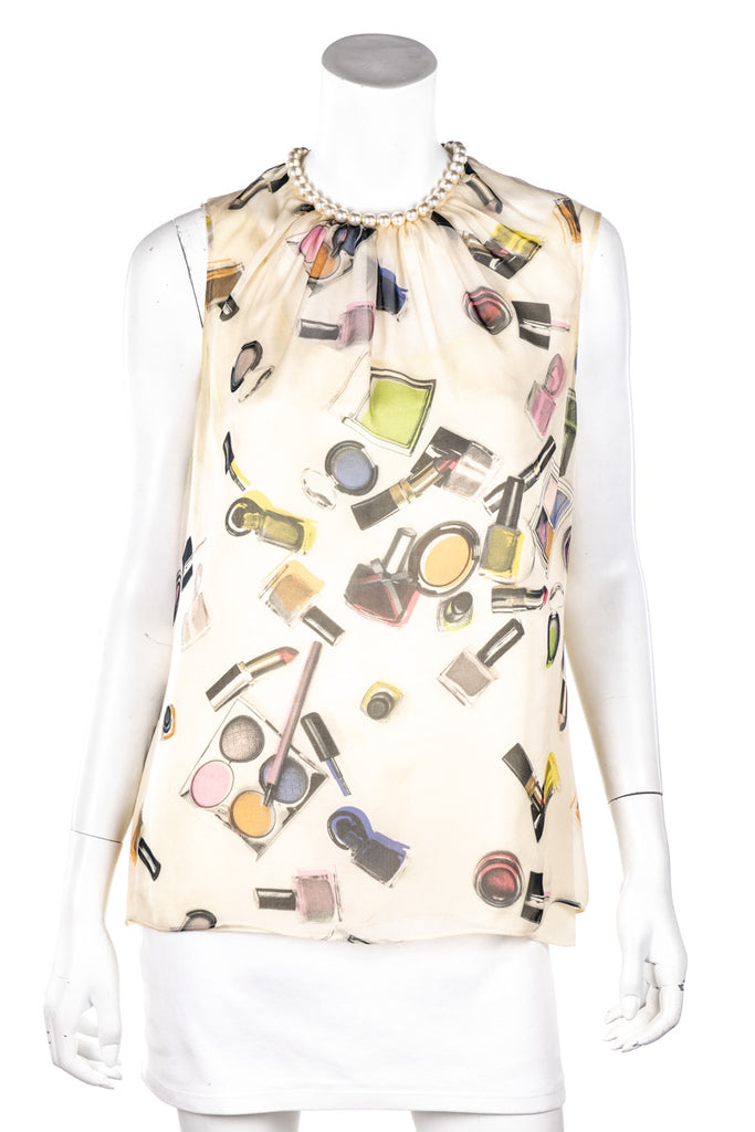 Moschino Cheap & Chic Chiffon Lipstick Print Pearl Embellished Top Size M | IT 44 - OWN THE COUTURE