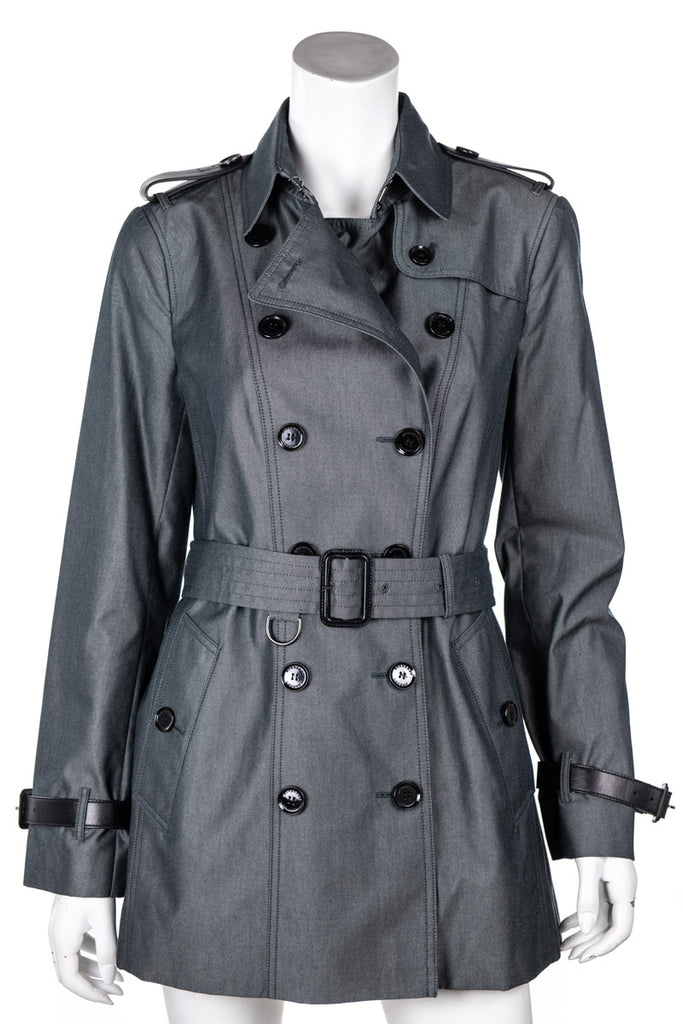 Burberry London Grey Leather Trim Trench Coat Size M | UK 12 [20% OFF] - OWN THE COUTURE