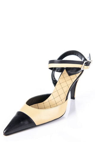79e71ea37c922 Chanel Beige and Black Cap Toe Ankle Strap Pumps New Size 9.5 | EU 39.5.  $785.00. Manolo Blahnik ...