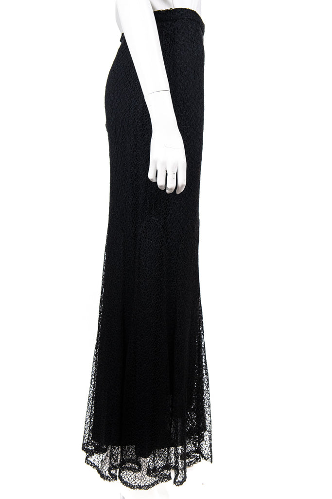 Chanel Black Guipure Lace Fall 2009 Maxi Skirt Size M | FR 40 - OWN THE COUTURE