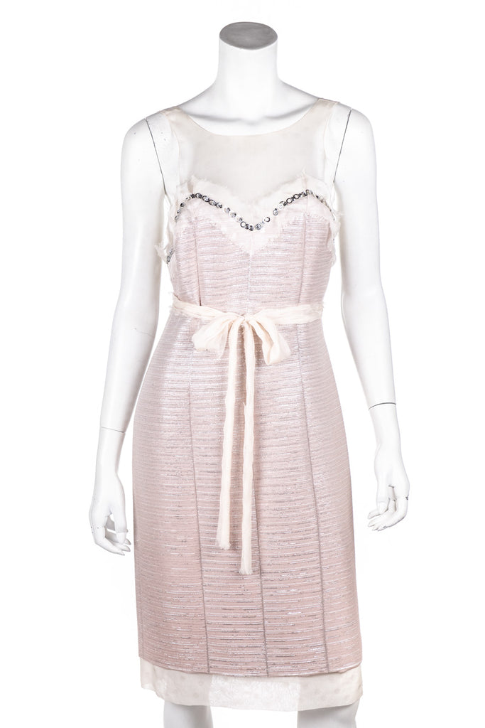 d851123318b ... Chanel Pink Tweed and Chiffon Spring 2005 Dress Size M