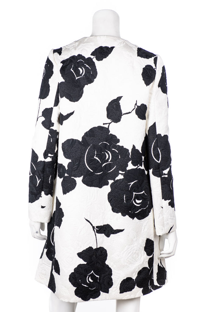 Dolce & Gabbana Black and Ivory Brocade Collarless Coat Size S | IT 42 [20% OFF] - OWN THE COUTURE