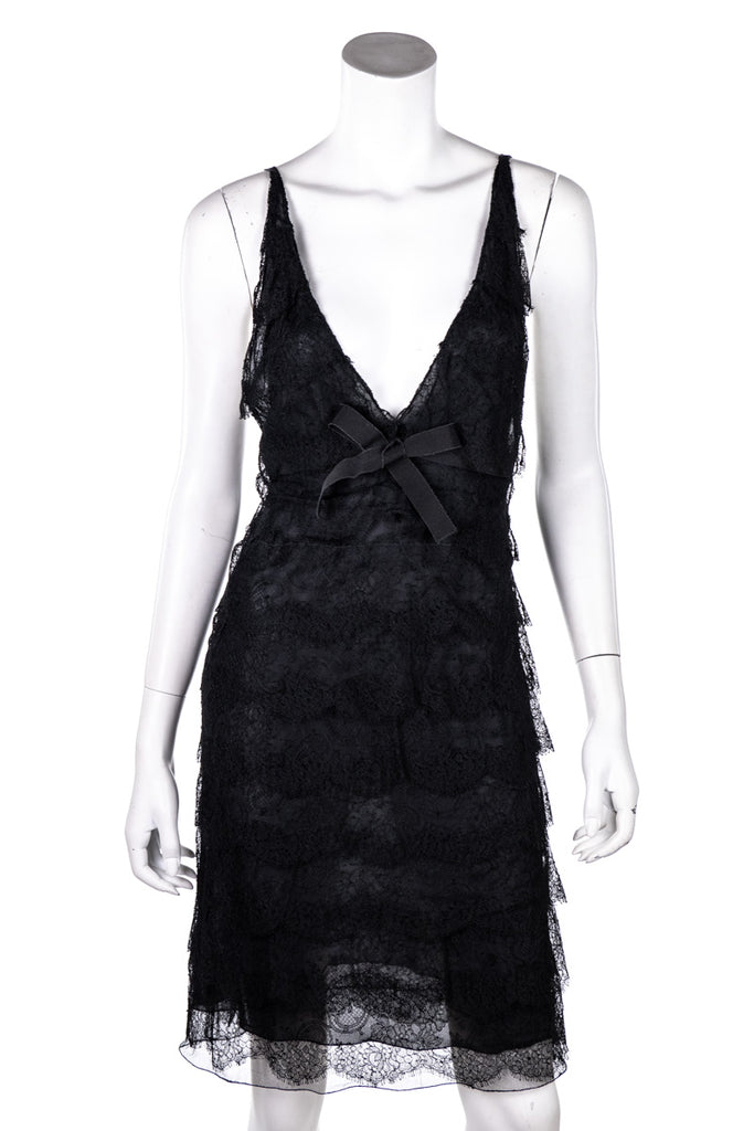 Prada Black Tiered Lace Sleeveless Dress Size M |  IT 44 - OWN THE COUTURE