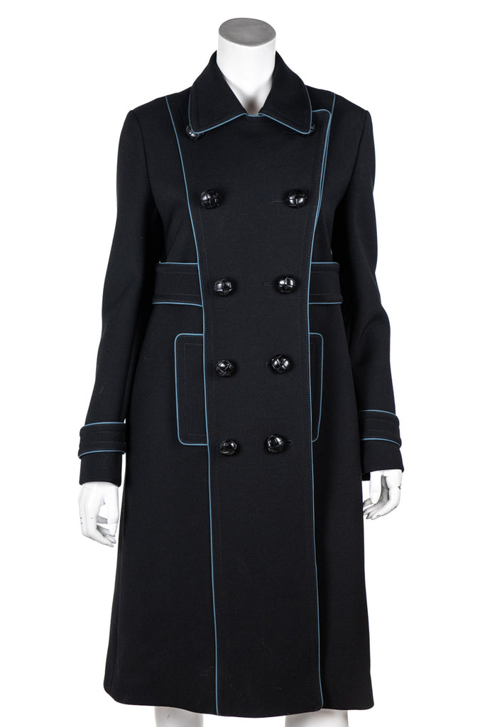 b1006edfc Gucci Black and Blue Trimmed Military Coat Size M | IT 44 [20% OFF]