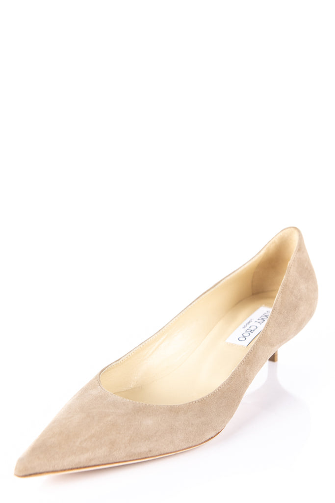 3d5a473a801 Jimmy Choo Beige Suede Kitten Heel Pumps New Size 9 | EU 39