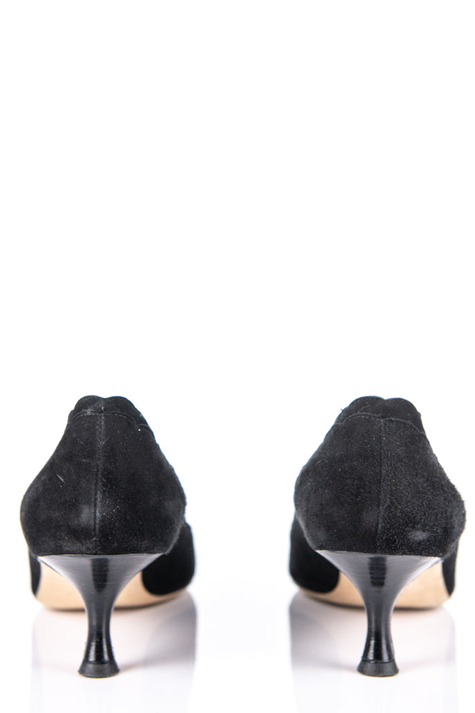 Manolo Blahnik Black Suede Scalloped Edge Pumps Size 9 | EU 39 - OWN THE COUTURE