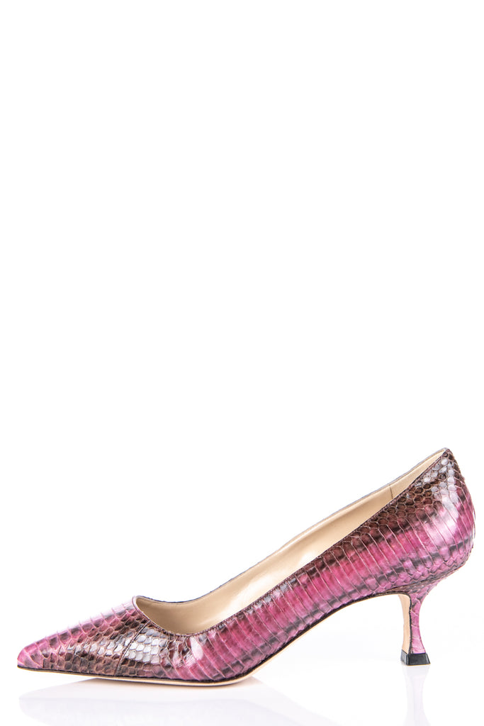 Manolo Blahnik Pink Snakeskin Low Heel Pumps New Size 9 | EU 39 - OWN THE COUTURE