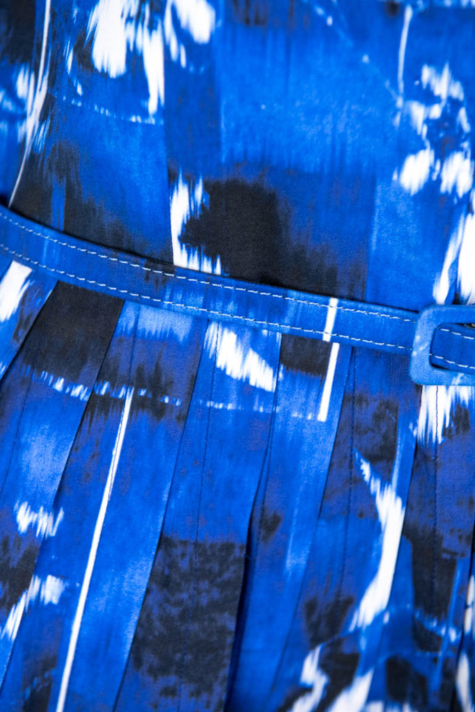 Oscar de la Renta Blue Cotton Abstract Print Spring 2014 Dress Size M | US 8 [20% OFF] - OWN THE COUTURE