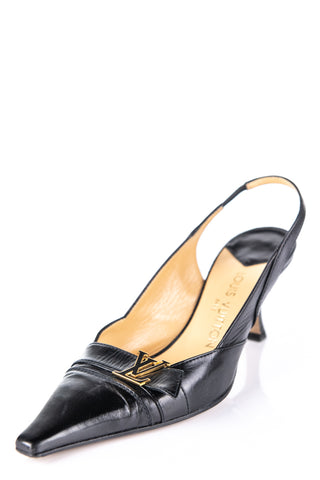 8f764842064a Louis Vuitton Black Logo Slingback Pumps Size 8.5