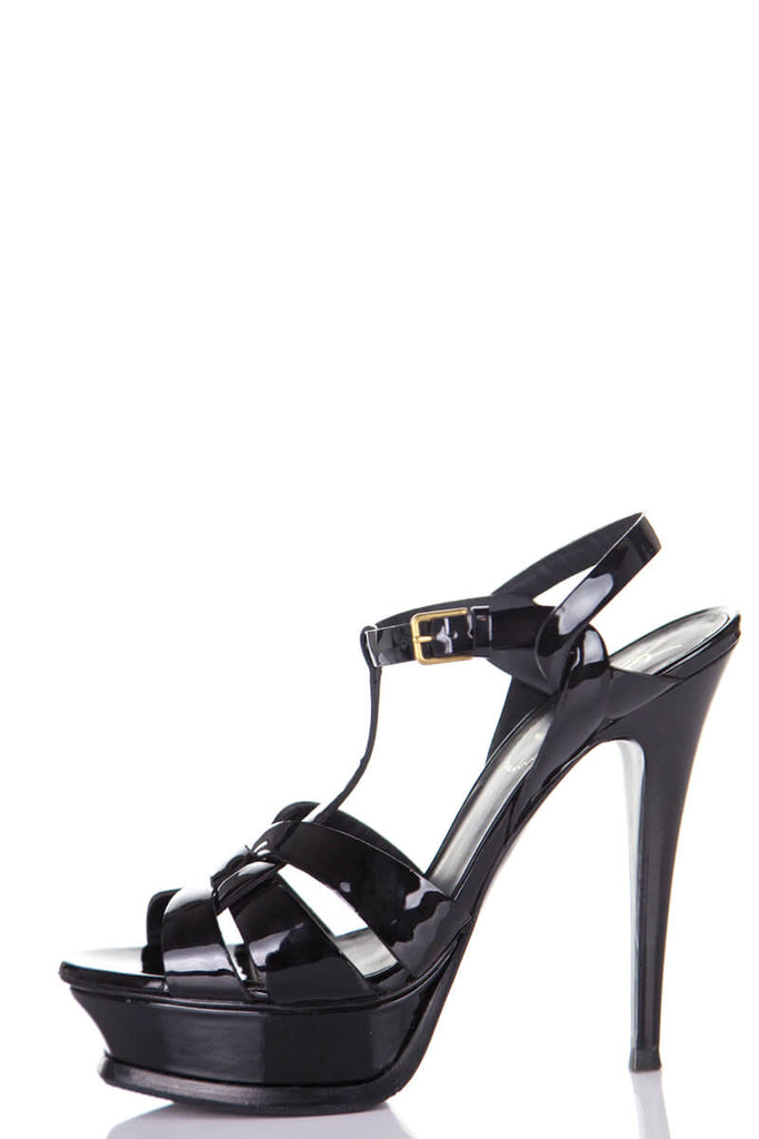 Yves Saint Laurent black patent Tribute platform sandals Size 8.5 | Size 38.5 - OWN THE COUTURE