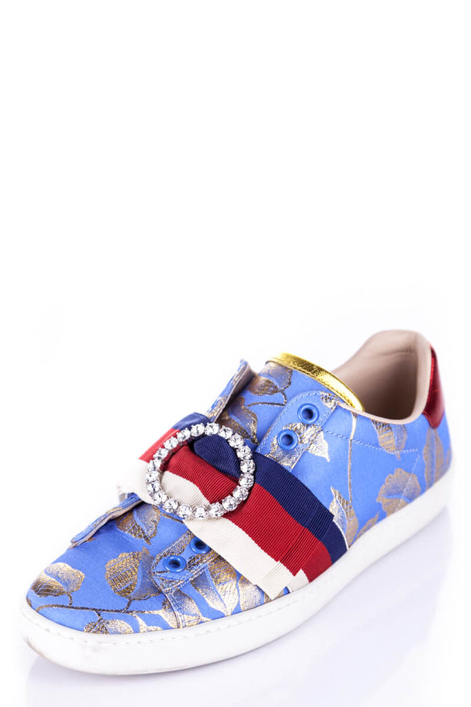 01f051286be ... Gucci Blue and Gold Brocade Ace Sneakers Size 5.5