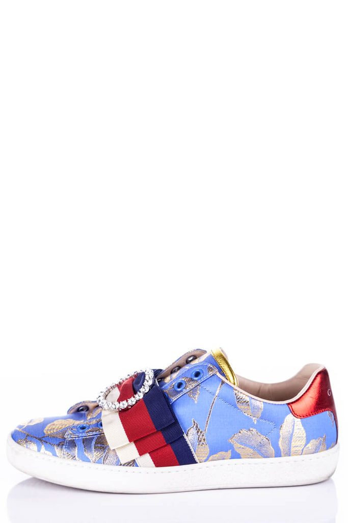 Gucci Blue and Gold Brocade Ace Sneakers Size 5.5 | EU 35.5 [20% OFF] - OWN THE COUTURE