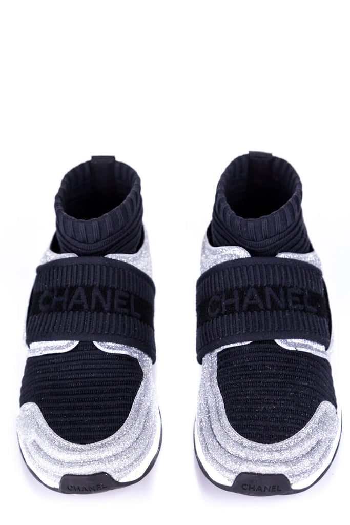 Chanel Silver and Black CC Glitter Low Top Sneakers Size 5 | EU 35.5 - OWN THE COUTURE