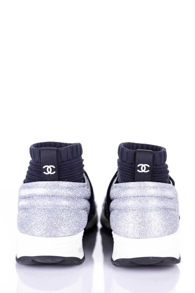 Chanel Silver and Black CC Glitter Low Top Sneakers Size 5 | EU 35.5 [20% OFF] - OWN THE COUTURE