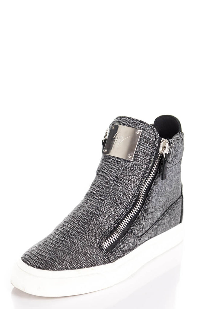 f93d994dc838b ... Giuseppe Zanotti silver snakeskin print high top sneakers Size 6 | EU  36 - OWN THE ...
