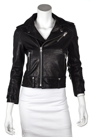 Vince black collarless leather trim coat Size M