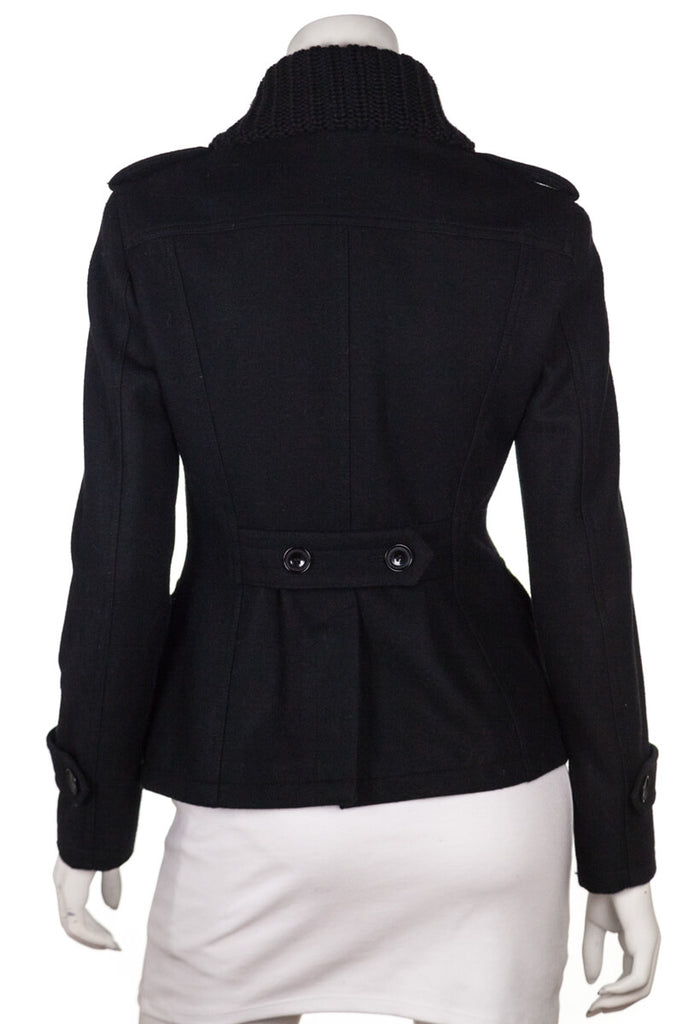Burberry Brit black wool jacket with knit collar Size XXS | UK 6 - OWN THE COUTURE