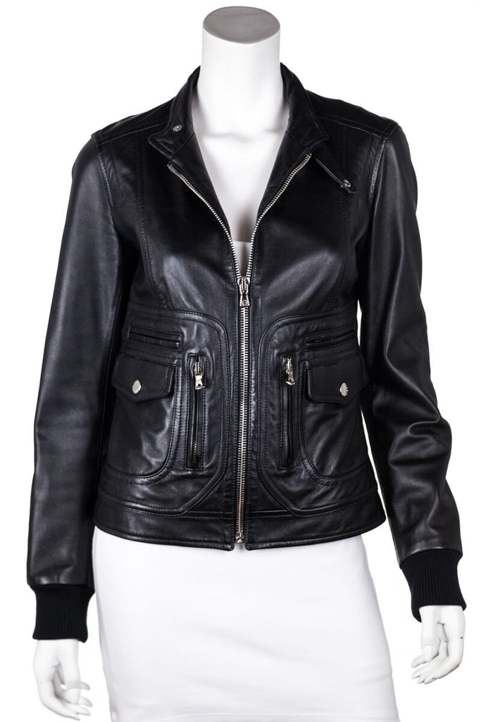 Dolce & Gabbana Black Leather Moto Jacket Size S - OWN THE COUTURE