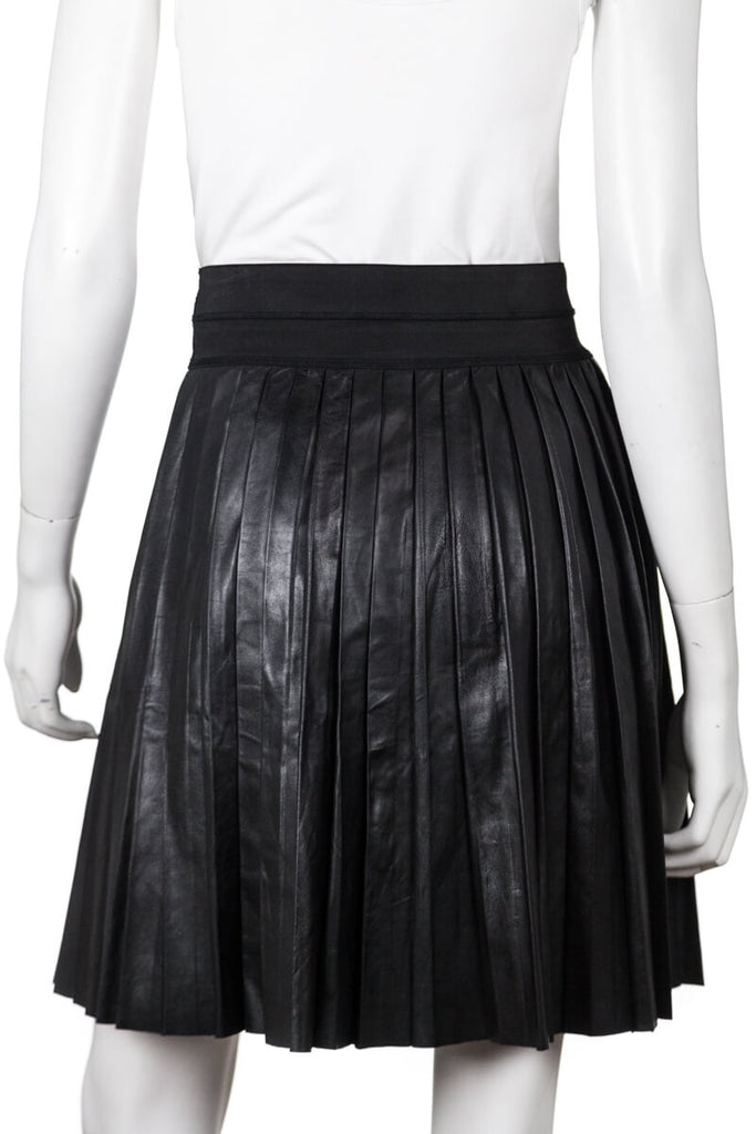 Sandro black leather Justine pleated skirt Size XS | EU 1 - OWN THE COUTURE