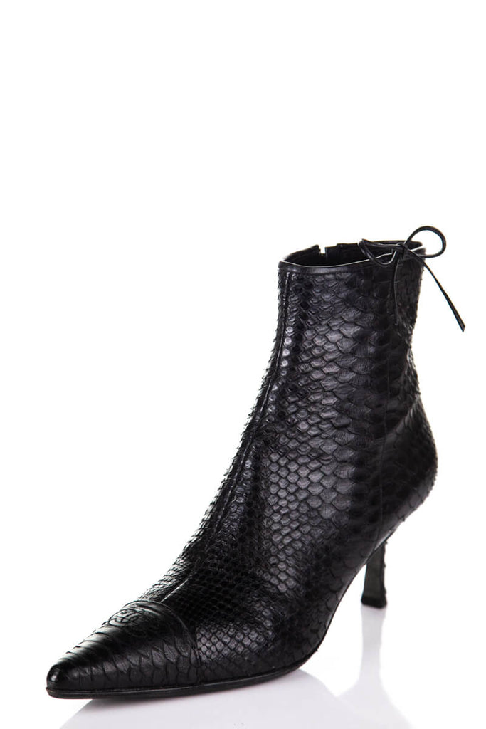 Chanel Black Python Pointed Toe Ankle Boots Size 11 | EU 41 - OWN THE COUTURE