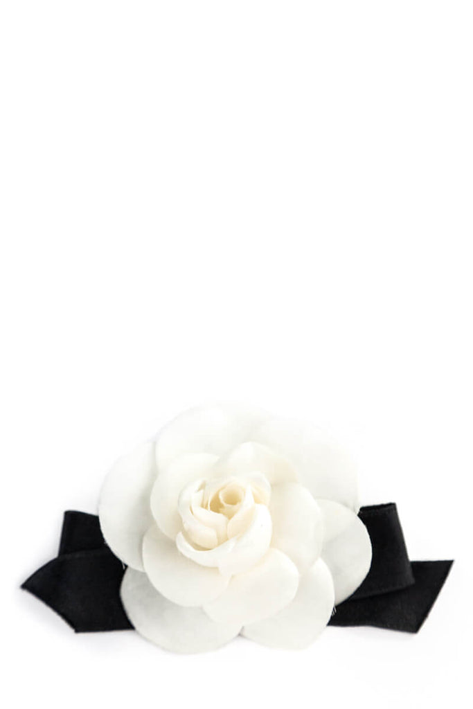 Chanel White Camelia with Black Ribbon Brooch - OWN THE COUTURE