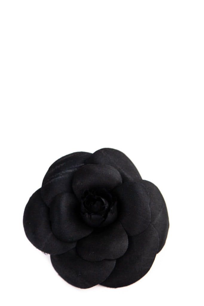 Chanel Black Silk Camelia Brooch - OWN THE COUTURE