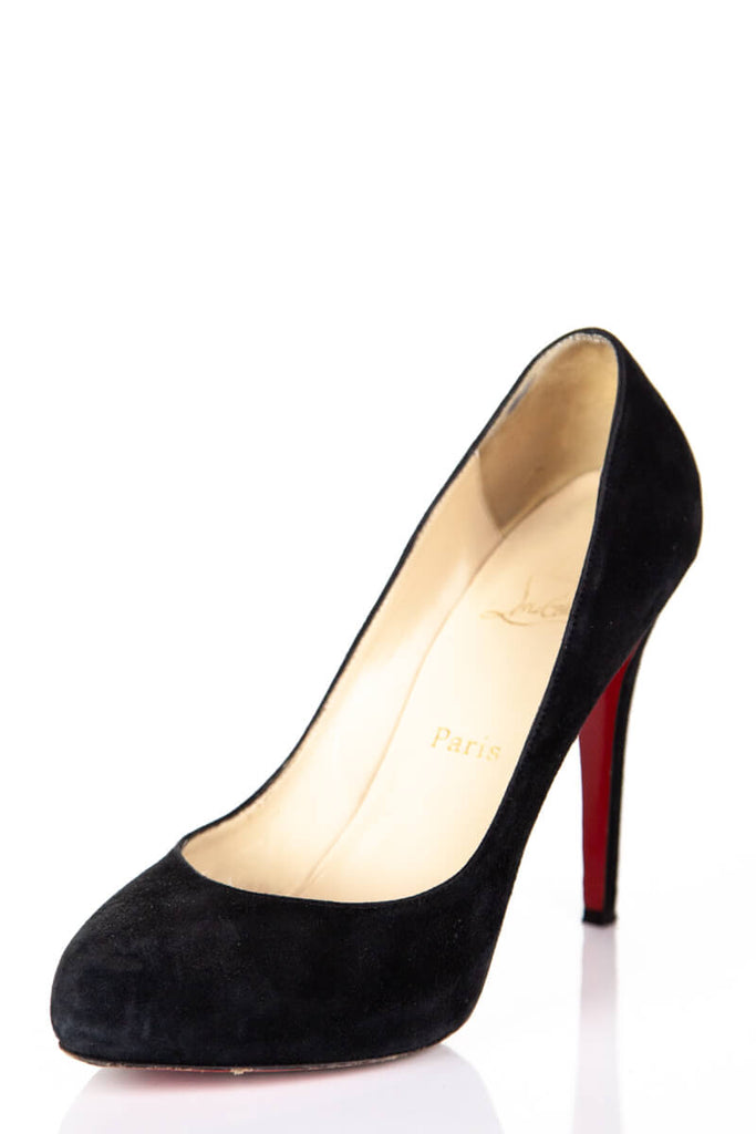 san francisco 64005 a569c Christian Louboutin black suede hidden platform pumps Size 8.5 | EU 38.5