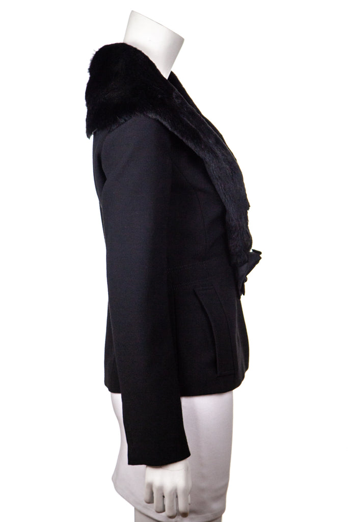 Dolce & Gabbana Black Jacket With Fur Shawl Collar Size XS | IT 40 - OWN THE COUTURE