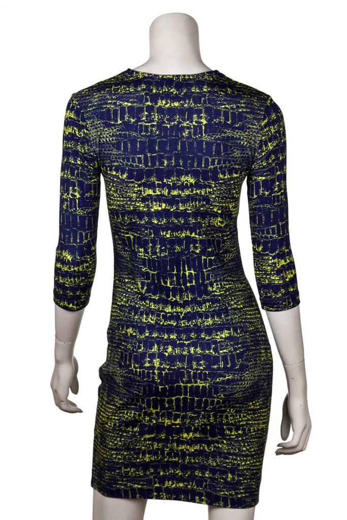 McQ by Alexander McQueen blue and green croc print dress New w/ tags Size XS - OWN THE COUTURE