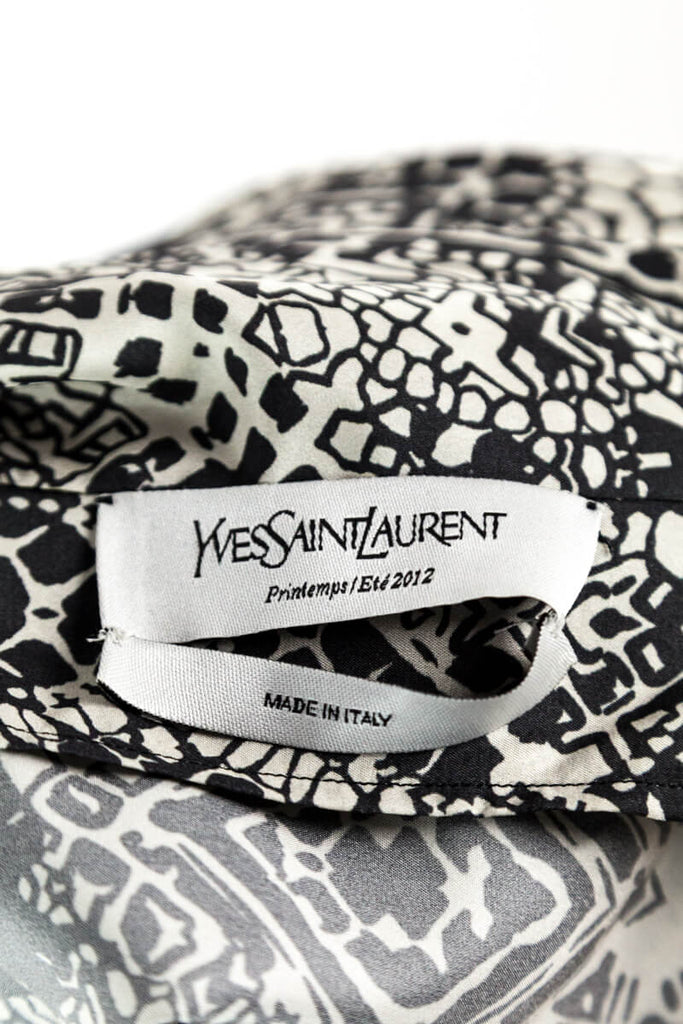 Yves Saint Laurent Grey and White Printed Silk Wrap Dress Size M | FR 40 - OWN THE COUTURE