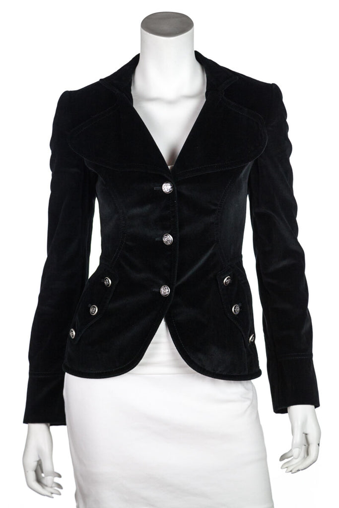 Dolce & Gabbana Black Velvet Blazer Size XXS | IT 38 - OWN THE COUTURE