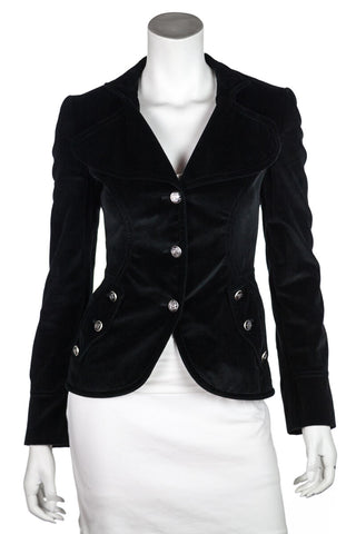 Dolce & Gabbana Black Jacket With Fur Shawl Collar Size XS | IT 40