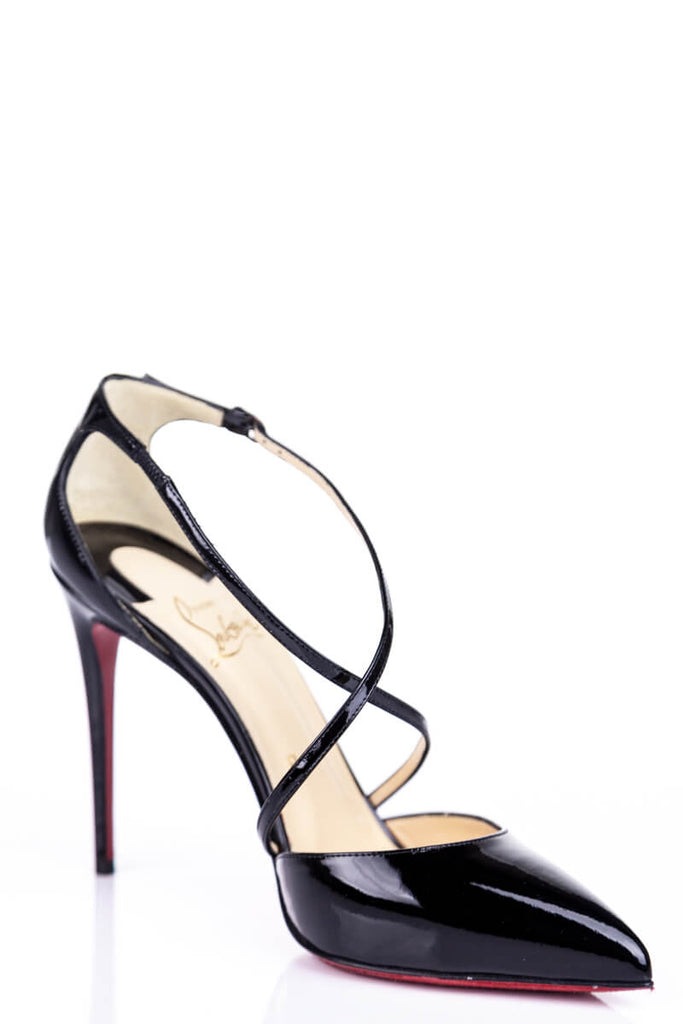 Christian Louboutin Black Patent Crossover Pumps Size 7.5 | EU 37.5 - OWN THE COUTURE