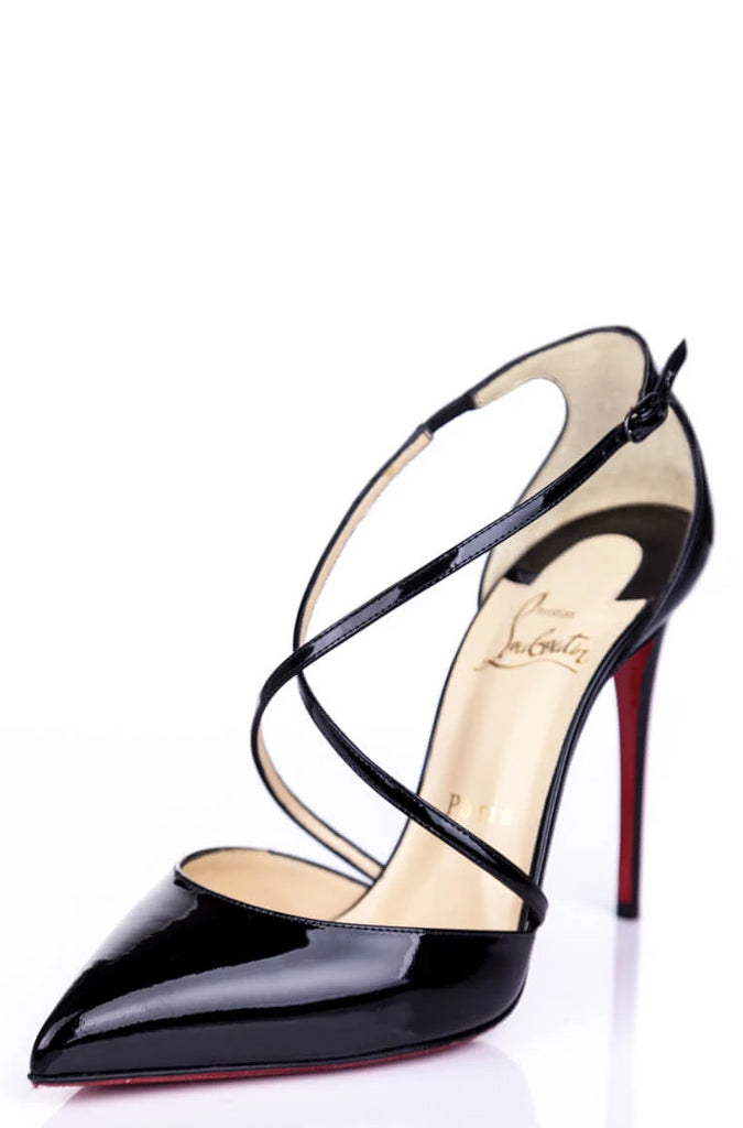 befed69cb6c3 ... Christian Louboutin Black Patent Crossover Pumps Size 7.5