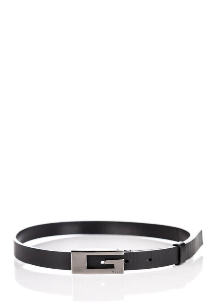 d9cf07a81ac ... Gucci black leather logo skinny waist belt - XS - OWN THE COUTURE ...