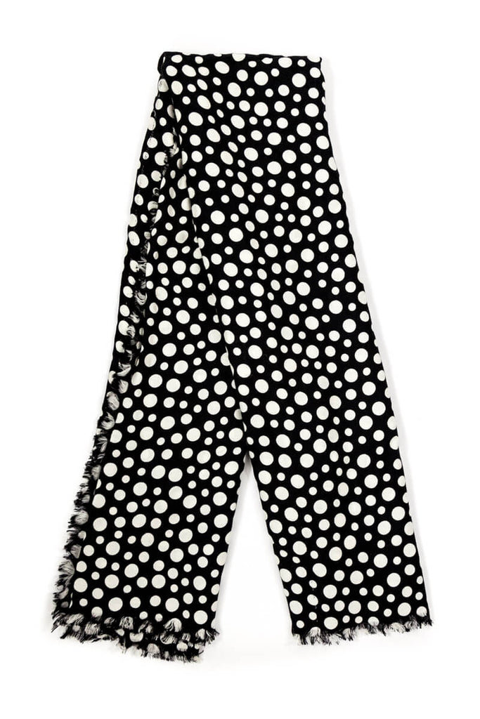 Louis Vuitton black and white Dots Infinity Yayoi Kusama wool and silk shawl [20% OFF] - OWN THE COUTURE