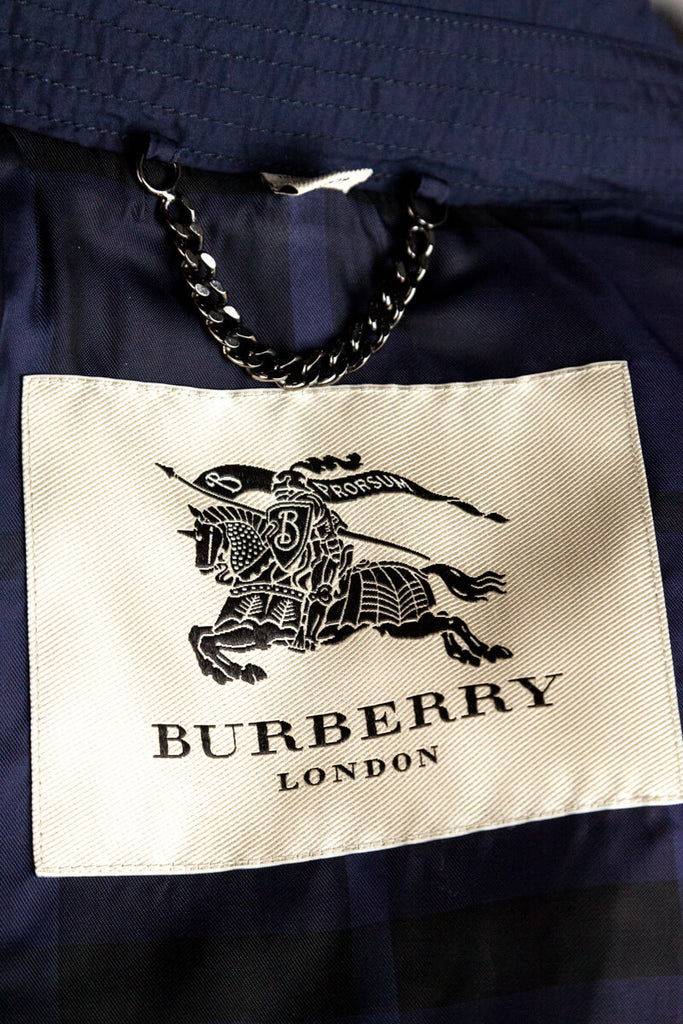 Burberry navy nylon ruched double breasted trench coat S | UK 10 [20% OFF] - OWN THE COUTURE