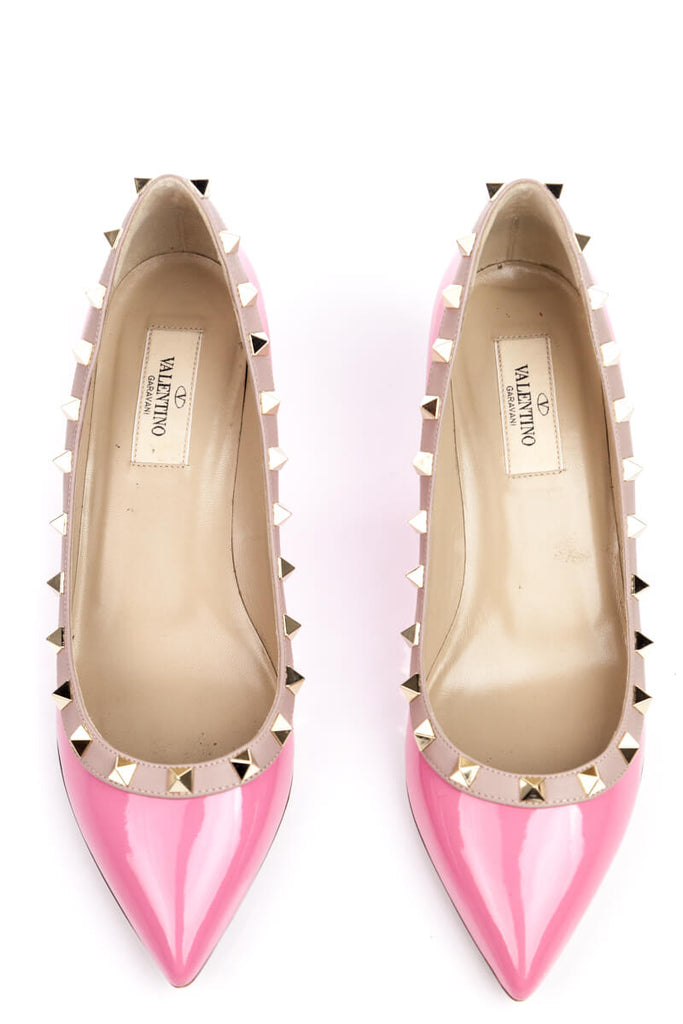 Valentino Pink Patent Rockstud Wedge 70mm Size 7.5 | EU 37.5 - OWN THE COUTURE
