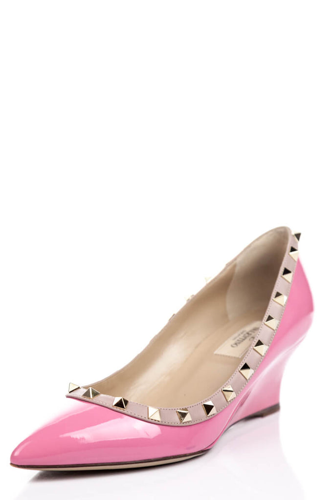 c3bf1964a ... Valentino Pink Patent Rockstud Wedge 70mm Size 7.5 | EU 37.5 - OWN THE  COUTURE ...