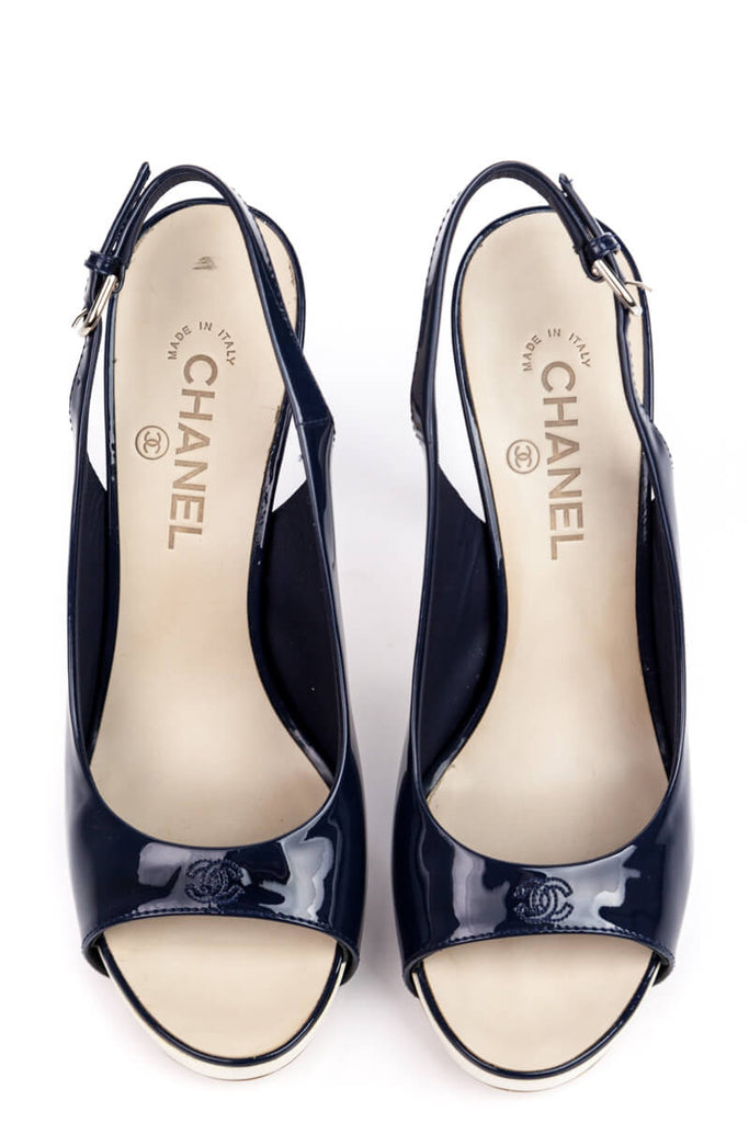 Chanel Blue Patent Peep Toe Sling Back Pumps Size 10 | IT 40 - OWN THE COUTURE