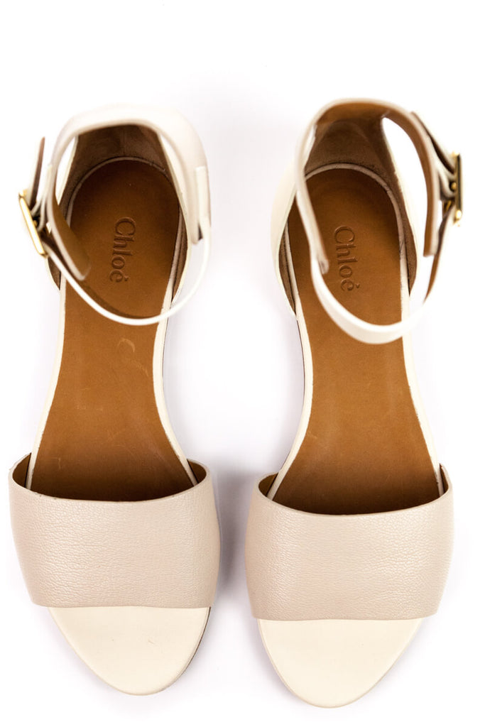 Chloé Beige Leather Sandals Size 9 | EU 39 - OWN THE COUTURE