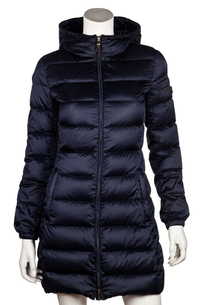 Prada blue puffer down coat with hood XS | IT 40 - OWN THE COUTURE