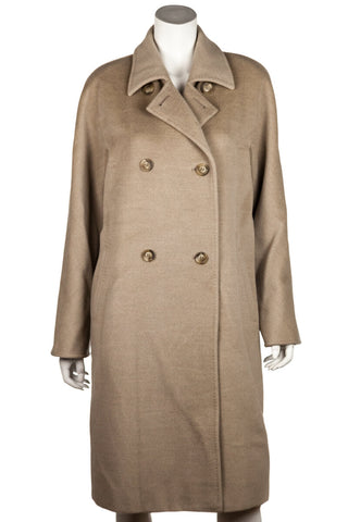 Burberry grey wool and cashmere fur trimmed belted coat S | UK 10